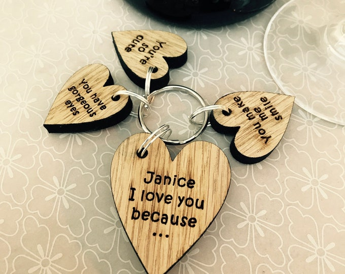 Valentine's Personalised Wooden Keyring Gift Set .. I Love You Because... Engraved Gift, Family, Friend, Lovers, Couple, His, Hers