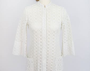 Vintage 1970's Teddi of California Polyester Crochet Jacket/Shirt