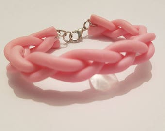 Braided polymer clay pink bangle