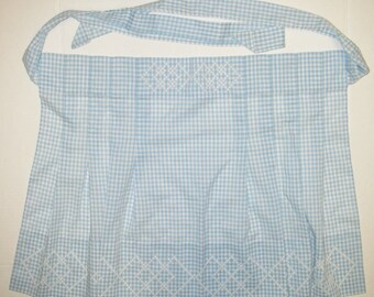 Vintage Apron Gingham Cross Stitch Checkered Handsewn Blue White