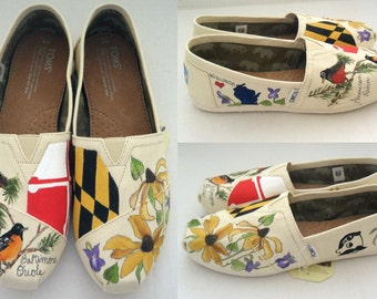 Home State Wedding Shoes Bridal Shoes Gift for the Bride Groom gift Custom TOMs Hand Painted Wedding TOMS Bride and Groom Home States