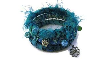 Boho Bangles Handmade Fabric Wire Bead Bangles Set of Three  Hippie Bracelets Gypsy Bangles