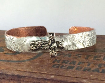 Silver and Copper Soldered Cross Bracelet, Stacking Bracelet Cross Jewelry Forged Copper Cuff Bracelet Religious Gift, Kyleemae Designs
