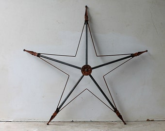 Large Vintage Architectural Rusty Metal Star -  Indoor Outdoor Rustic Wall Display - Primitive Christmas
