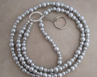 gray pearl silver lanyard badge ID holder
