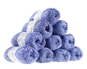 10 x 50g knitted yarn wool cotton Symbiosis #75 Blue