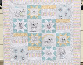 Quilted, Hand Crafted Baby's Quilt-Keepsake-Newborn-Home Furnishing-Crib Bedding-One of a Kind