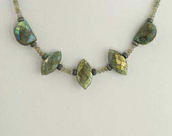 Labradorite Necklace Rare 22 K Gold Fumed Aura Iridescent