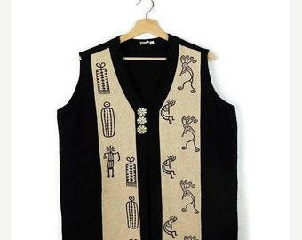 ON SALE Vintage Black x  Cream/Oatmeal x Ethnic Cotton Vest*