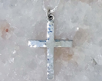 Hand Crafted Sterling Silver Cross Pendant with Hammered Finish