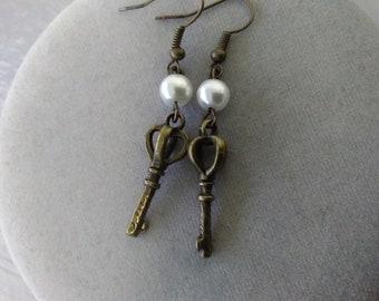 Antiqued Brass Key Earrings