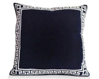 Navy Blue Pillow, Velvet Pillow Cover, Cotton Velvet Shams, Greek Key Embroidered Pillow, Velvet Throw Pillows, Cotton Velvet Cushion