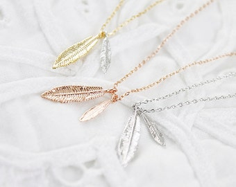 Leaf Necklace Two Leaf Charm Necklace Bridesmaid Gift Bridesmaid Necklace Dainty and Delicate Necklace Birthday Gift