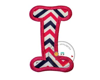 Chunky curls letter I iron on applique, Girls nautical monogram, iron on initial I, Blue and pink monogram letter I, Ready to ship