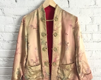vintage traditional Chinese silk jacket / reversible asian brocade floral jacket / gold and red silky mandarin collar jacket