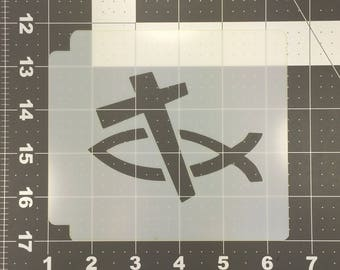 Christian Fish and Cross 100 Stencil
