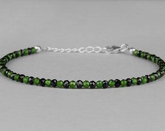 Chrome Diopside, Black Spinel, Beaded Bracelet, Gemstone Bracelet, Chrome Diopside Bracelet, Black Spinel Bracelet, Gift for Her,