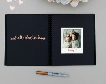 Fast Shipping > Baby Memory Book Embossed Rose Gold Foil. Ideal Baby Shower Gift, Baby Shower Guest Book, Baby Shower Advice Book.