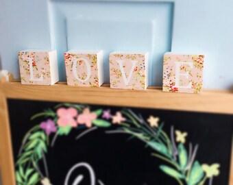 LOVE  beautiful floral four piece wooden block set