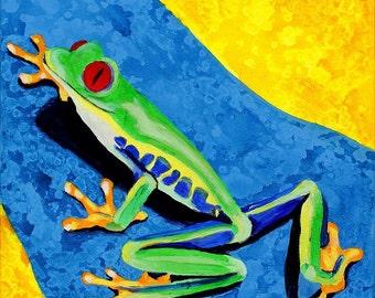 Climbing Tree Frog Painting. Green, Blue Yellow Wall Art. Original Kids Room Painting, Girls Boys Nursery Art, Safari Rainforest Decor