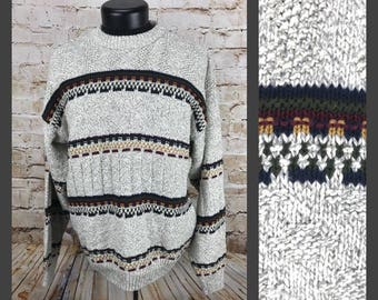 Vintage Sweater - Vintage knit - Cotton Sweater - Striped Sweater - Pullover Sweater - Grandpa Sweater - Men's Vintage Clothing - Medium