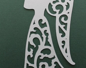4 Elegant, Lacey, Silver Angel Diecuts, Christmas, Holiday Decorations, Scrapbooking, Cardmaking, Other Paper Crafts, Metallic Silver