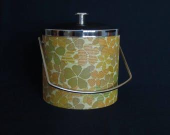 Vintage 1970s Floral Print Ice Bucket w/Metal Lid