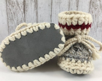 Work Sock Grey and Cream with Red Stripe BABY Toddler Child Crochet SHEEPSKIN Booties with Grey Leather Suede and Sheepskin Shearling Sole