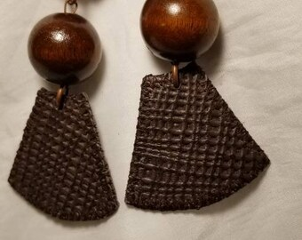 Chocolate Brown Leather Earrings with Wooden Bead