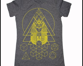Women's PHARAOH'S DREAM T-Shirt Psychedelic Sacred Geometry Style Tee