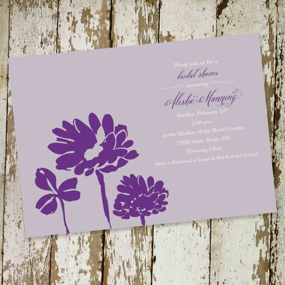 Couples shower invitation rehearsal dinner bridal purple floral I do BBQ engagement party stock the bar brunch after | 345 Katiedid Design
