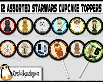 Space wars Cupcake Toppers Star Jedi Birthday Decorations Custom baby shower favors cupcake picks cake toppers cupcake tops 12 assembled