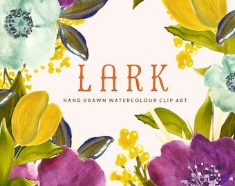 Flower Watercolour Clipart, Hand Painted Graphics - Lark