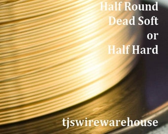 Gold Filled Wire, 14k, 22g or24g, HALF ROUND,  Half Hard, Length Choice