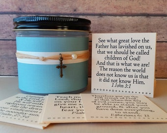 Christian gifts, bible verses in a Jar, Wedding gifts, wedding anniversary gifts,daily devotions,housewarming gifts,gifts for mom,blue linen