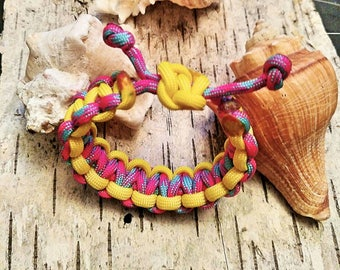 Pink blue and yellow bracelet