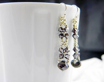 "READY TO SHIP Amethyst Satin Beadweaving Dangle Earrings ""Queen's Cross"""