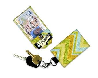 Rustic Green Chevron Mini Wallet Card Holder Keychain Clear ID Holder Small Wallet ID Wallet Minimalist Wallet Student ID Badge Credit Card