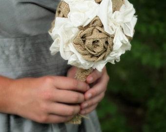 Burlap Bridesmaid Bouquet | Rustic Bridesmaid Bouquet | Country Wedding | Wedding Bouquet | Shabby Chic Bouquet | Fabric Bouquet