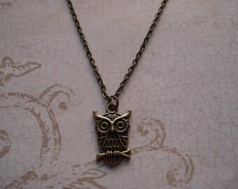 Antique Brass Owl Necklace