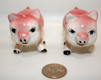 Salt and Pepper Shakers Small Pink and White Pig Salt and Pepper Shakers, Pigs have Human looking eyelashes and mouths