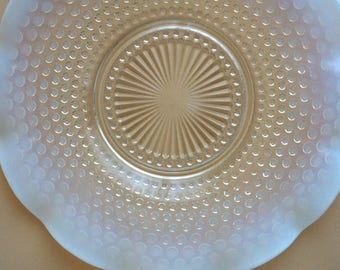 Vintage Moonstone Opalescent Hobnail Plate, Anchor Hocking 1940's