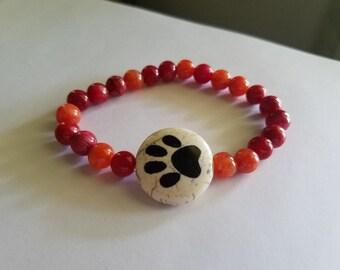Beaded Paw Print Bracelet