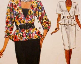 Vogue 9484 Dress Sewing Pattern, 1980s Bust 36 38 40