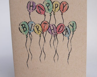 Greeting Card - Happy Birthday balloon letters