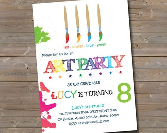Kids Art party Invitation, Kids Birthday invitation, Kids Party Invitation, Drawing invitation,