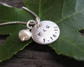Personalized Hand Stamped Sterling Silver Necklace Day To Remember
