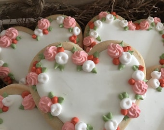 Heart shaped, Royal icing, sugar cookies packed in a small wooden crate. Valentine Cookies!