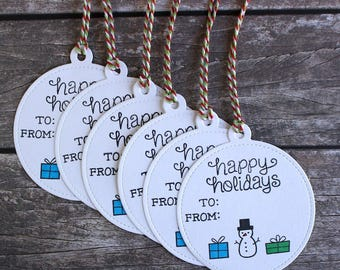 Happy Holidays Handmade Gift Tags with To and From - Set of 6 - Christmas - Hand-Stamped - Designs by J