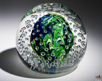 Handcrafted Art Glass Paperweight - Blue and Sparkly Green Squiggles with Bubble Grid